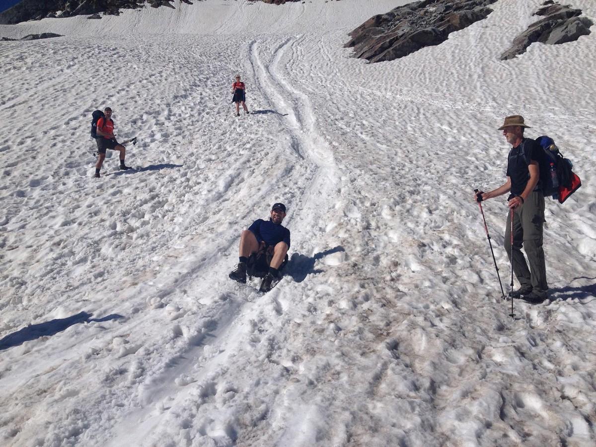 Abfahrtsspass am Gletscher