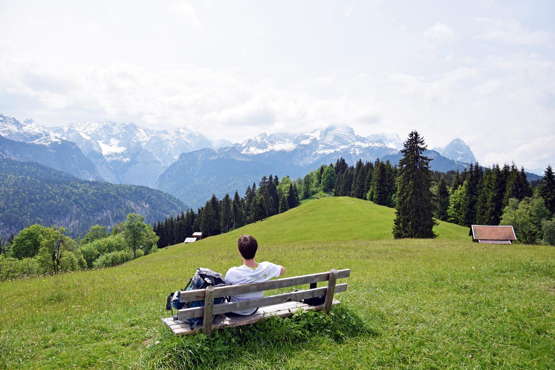 Blick vom Eckbauer auf das Wettersteingebirge