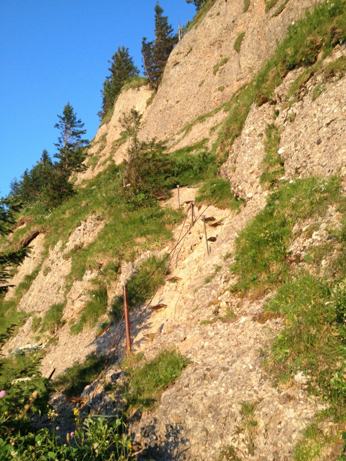 """Der zweite gesicherte Teil im """"Klettersteig"""""""