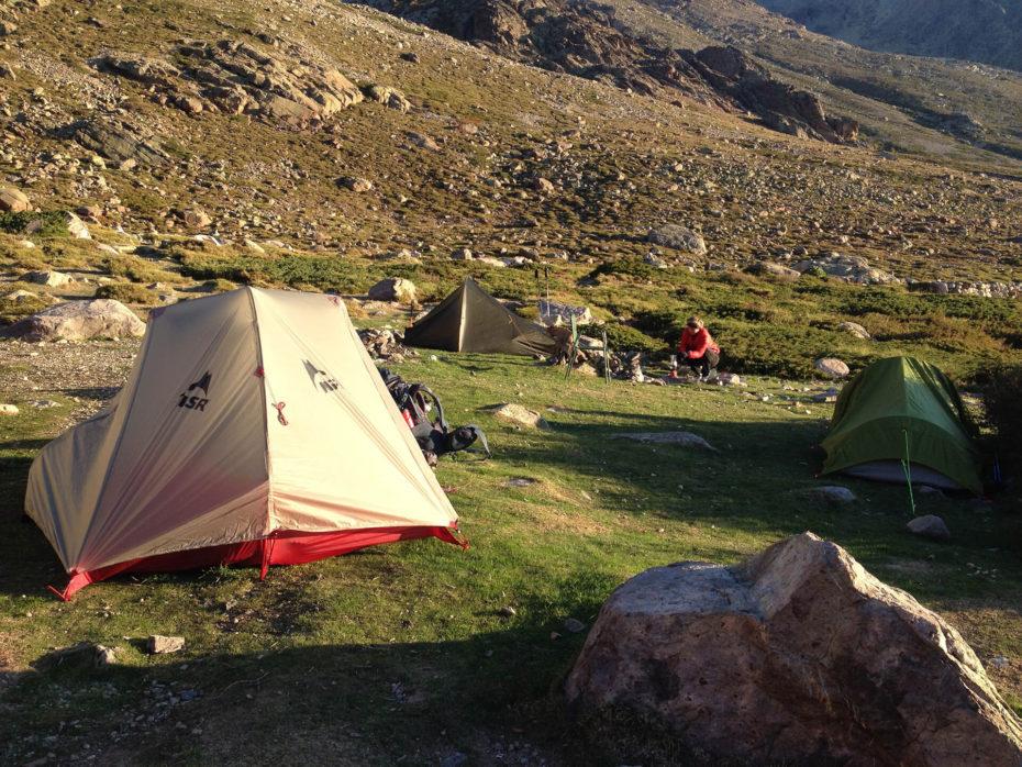 Zeltplatz am Refuge de l'Ercu unterhalb des Monte Cinto