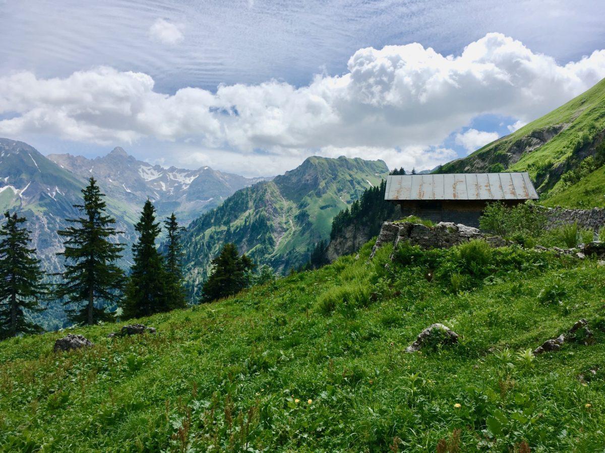 Blick hinüber zum König der Allgäuer Alpen: Dem Hochvogel