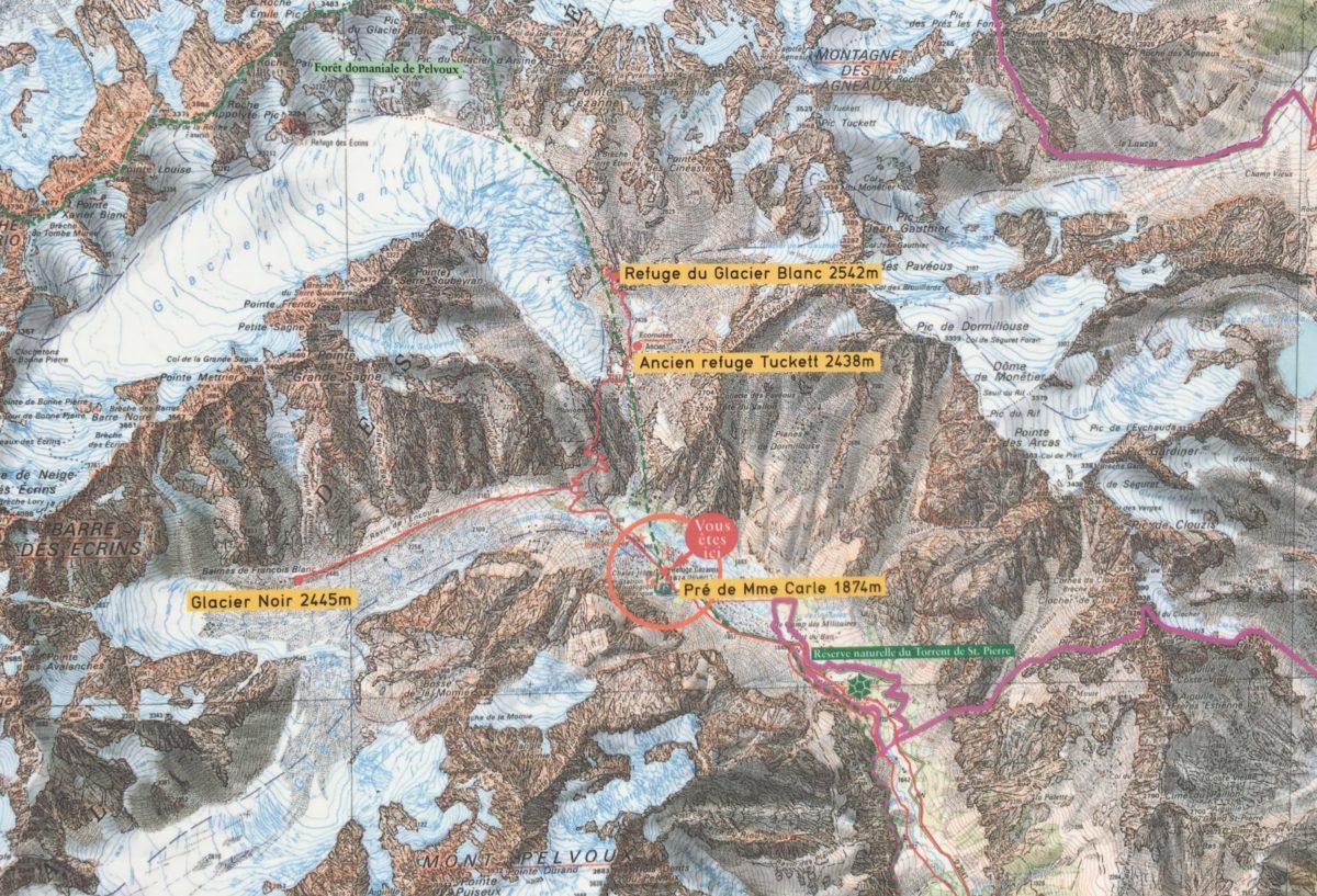 Karte des Nationalparks mit dem Aufstieg zum Gletscher Glacier Blanc