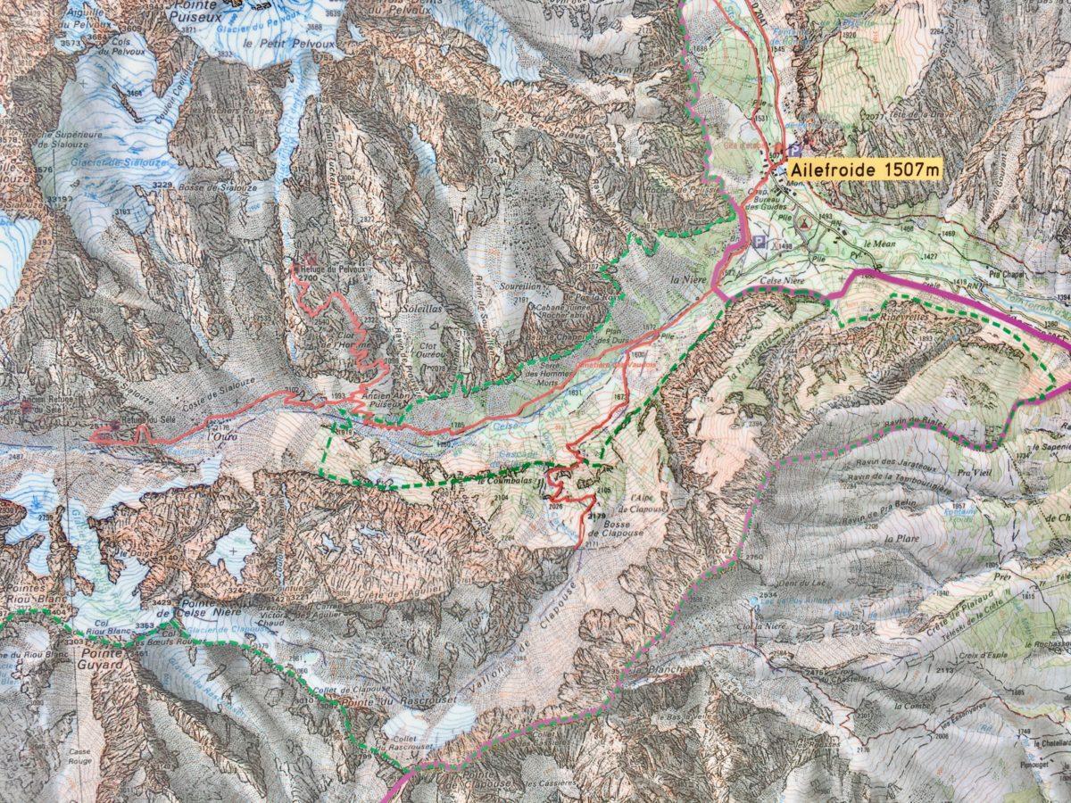 Nationalpark-Karte: Von Ailefroide zum Refuge du Sélé