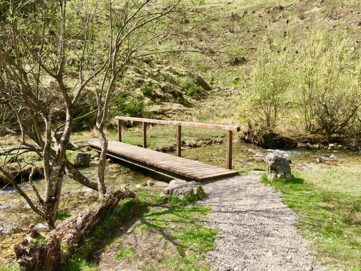 Brücke am Picknickplatz am oberen Ende der Wasserfälle