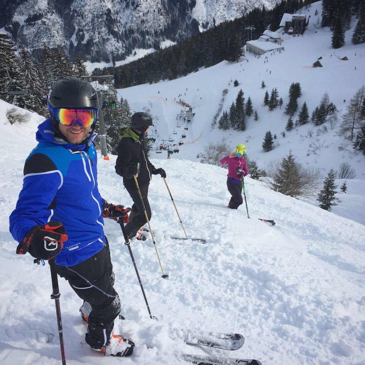 Ab ins freie Gelände der Riesneralm: Auch mit Telemarkski ein Genuss