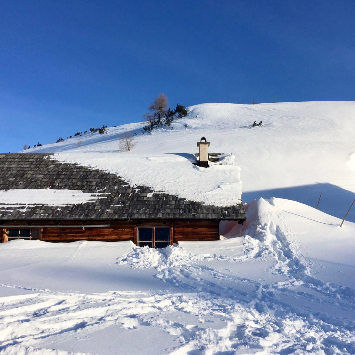 Genügend Schnee: An der Gjaidalm am Krippenstein