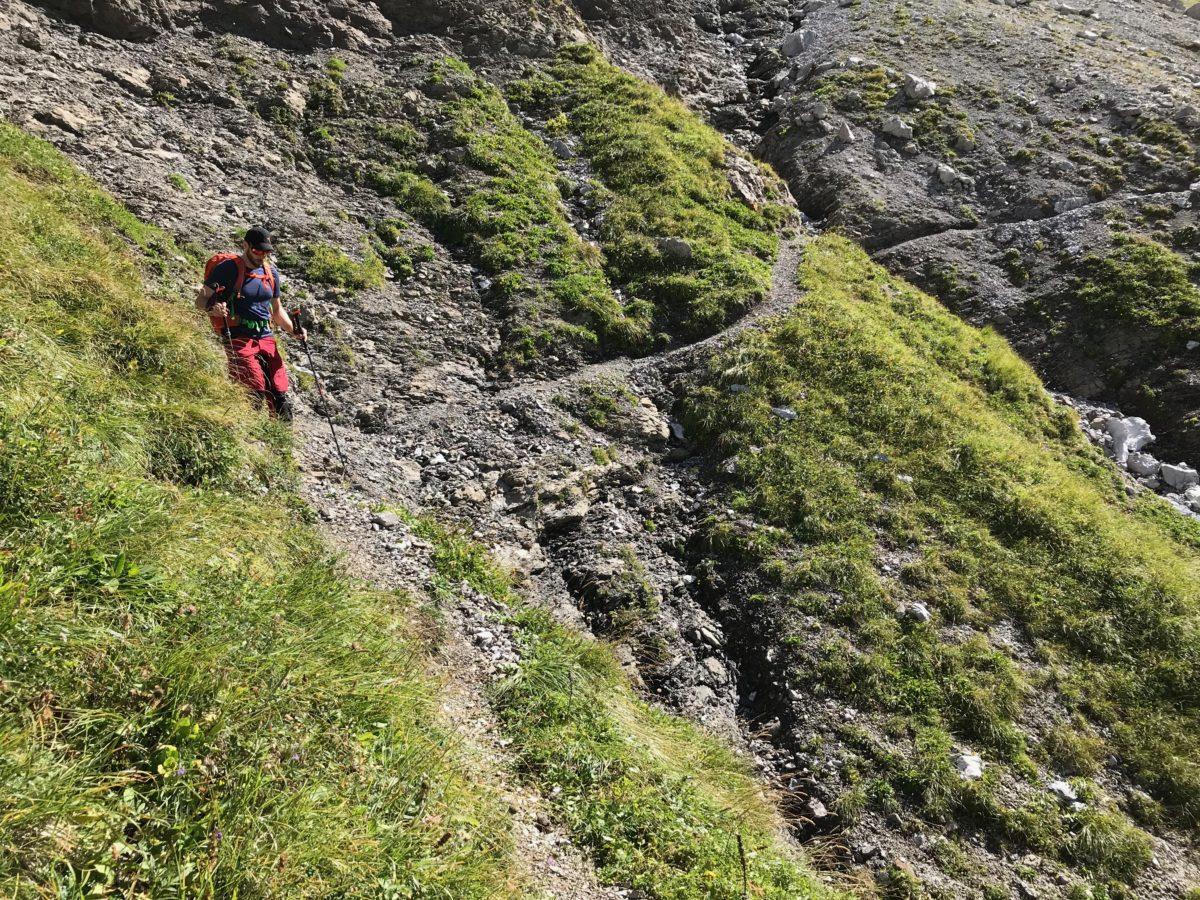 Abschüssiges Stück unterhalb des Hornbachjochs