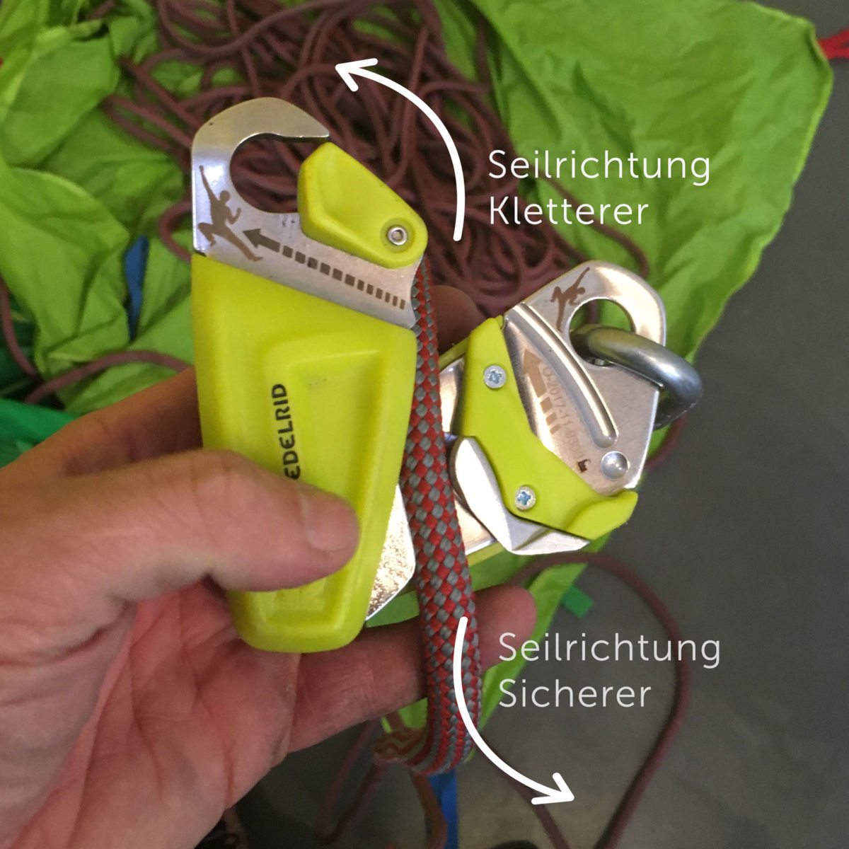 Edelrid Ohm: Das Seil wird entsprechend der Kennzeichnung von rechts nach links eingelegt.