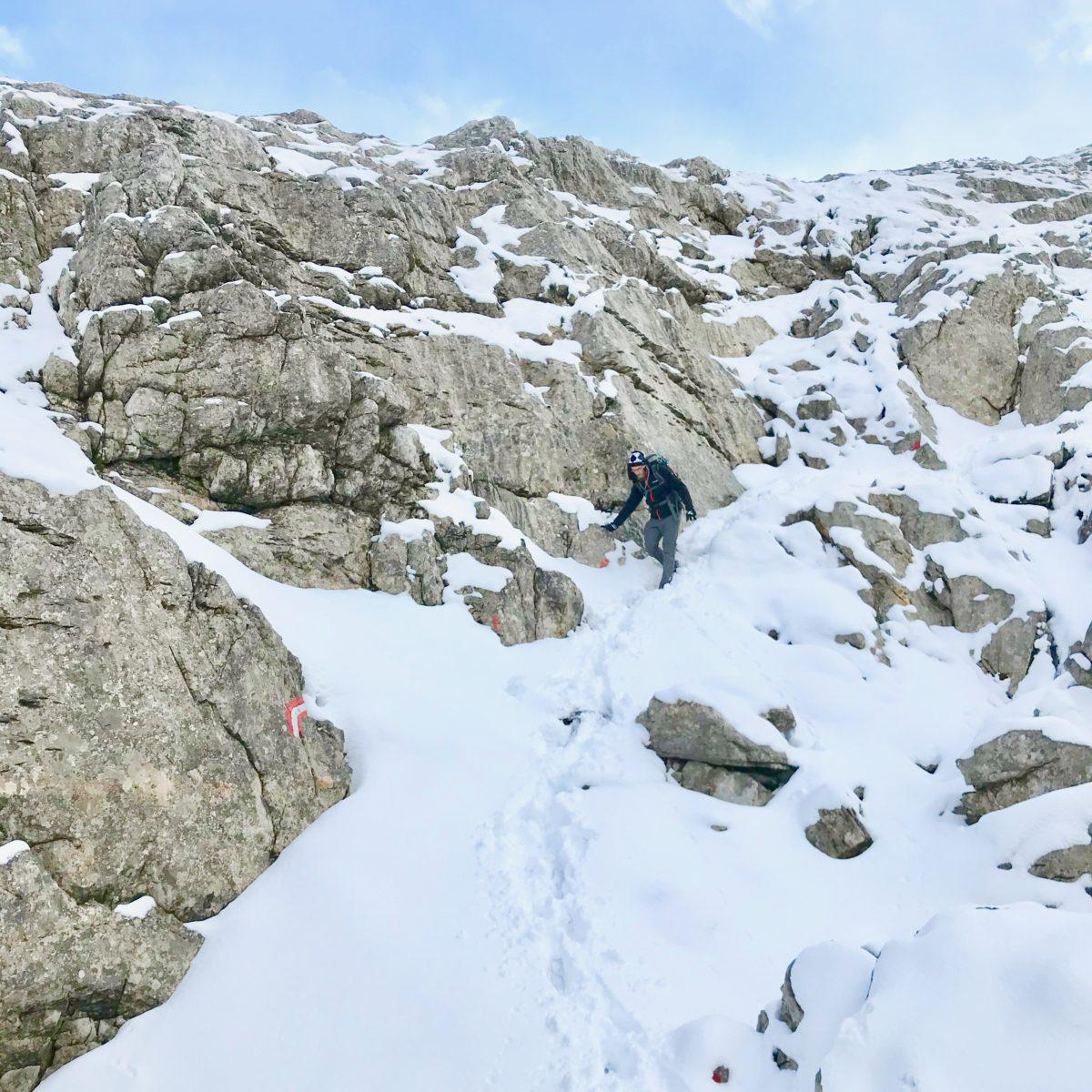 Der Weg ist bei Schnee schlecht zu finden