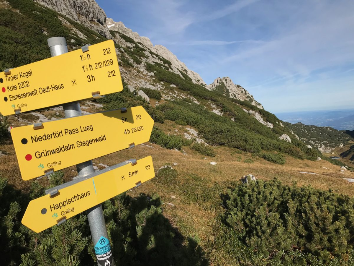 Wegweiser im Tennengebirge